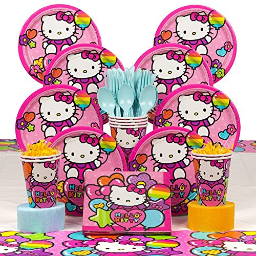 Costume SuperCenter Hello Kitty Rainbow Birthday Party Deluxe Tableware Kit Serves -