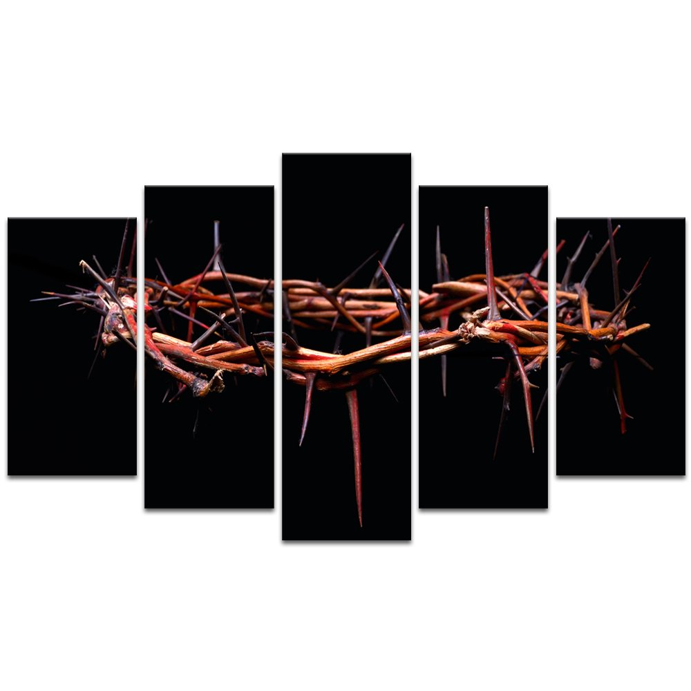 Visual Art Decor 5 Pieces Christian Religion Canvas Prints Wall Art Picture of Rustic Crown of Thorns Wall Decor Gallery Wrap Ready to Hang (Large Crown of Thorns)