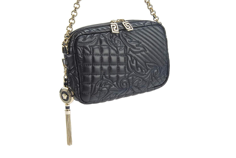 b550f041d3d0 Amazon.com  Gianni Versace Vanitas Collections Black Lambskin Quilted  Shoulder Bag   Removable Medusa Charm Pendant  Shoes