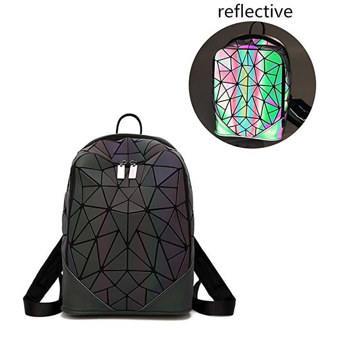 Geometric Luminous Travel Shoulder Bag Casual Holographic Reflective Teenager Traveling Backpack for Women & Men (Rhombus)