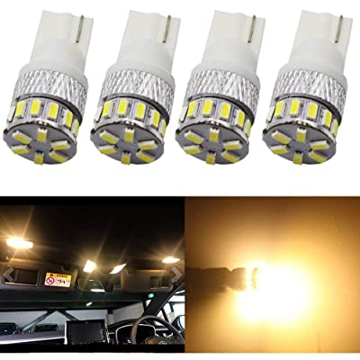 4-Pack T10 194 168 2825 Extremely Bright 300Lums Warm White 3000K 5th Generation Non-Polarity LED Light 12V-24V - 18SMD 3014 Car Replacement For Map Dome License Plate Dashboard Side Marker Light: Automotive