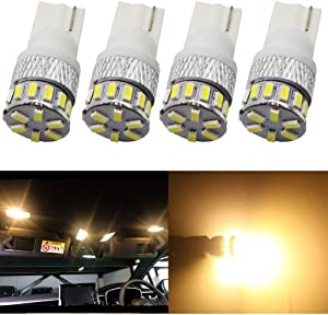 4-Pack T10 194 168 2825 Extremely Bright 300Lums Warm White 3000K 5th Generation Non-Polarity LED Light 12V-24V - 18SMD 3014 Car Replacement For Map Dome License Plate Dashboard Side Marker Light
