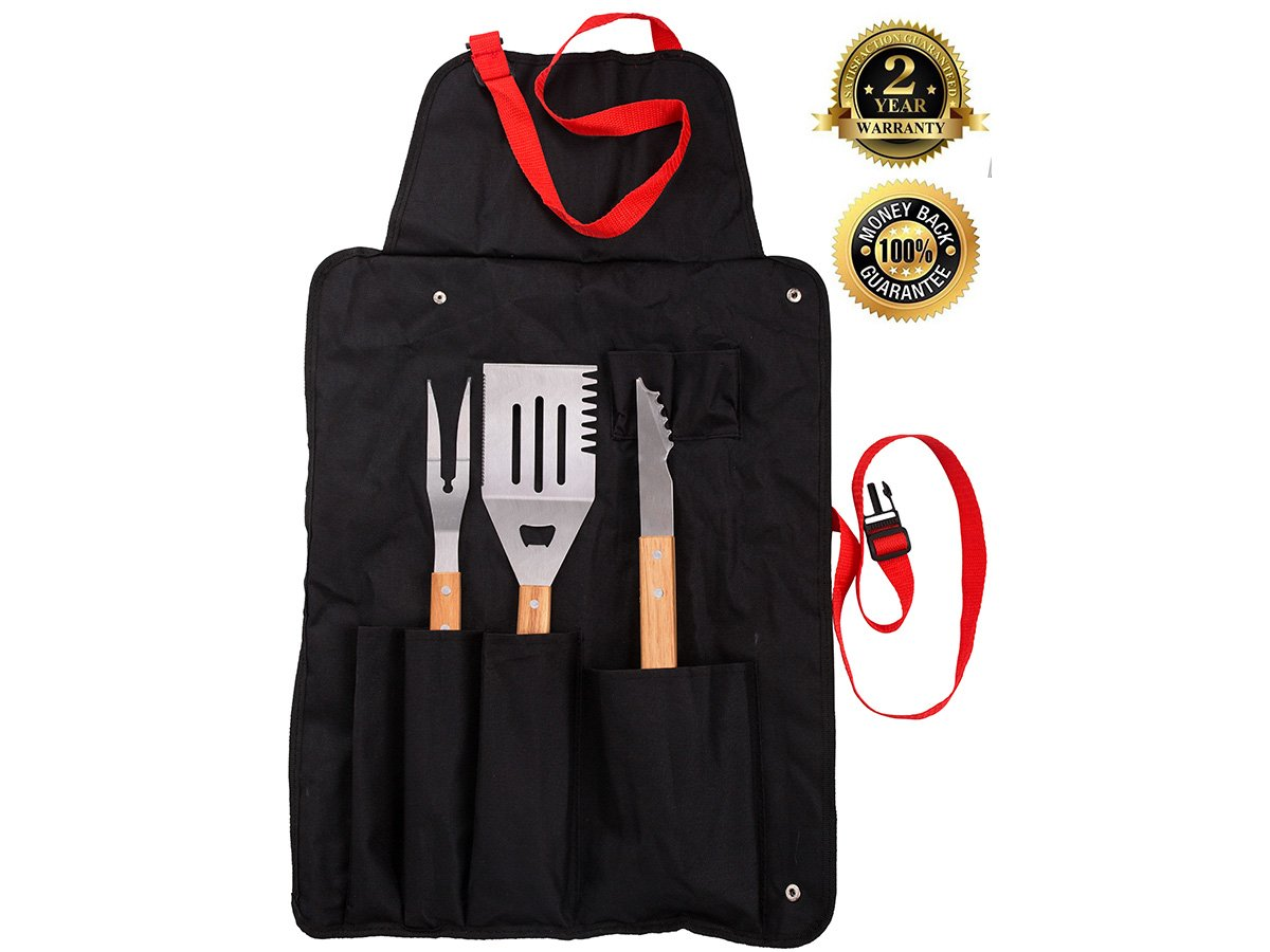 Stainless Steel BBQ Grill Set with Multi-Use Spatula, Tongs, Meat Fork, and Heavy Duty Canvas Apron - Barbecue Grilling Set and Utensils by Dimel, Rust free, Professional Cooking Tools