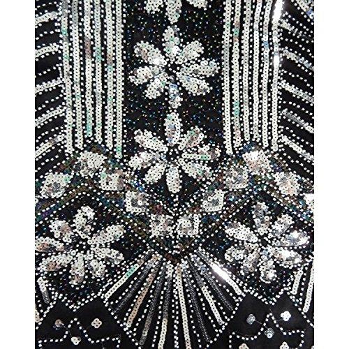 columna de cóctel AIURBAG poliéster cuello con fiesta vestido Vaina lentejuelas asimétrico m en de V pYx1Rw5q1