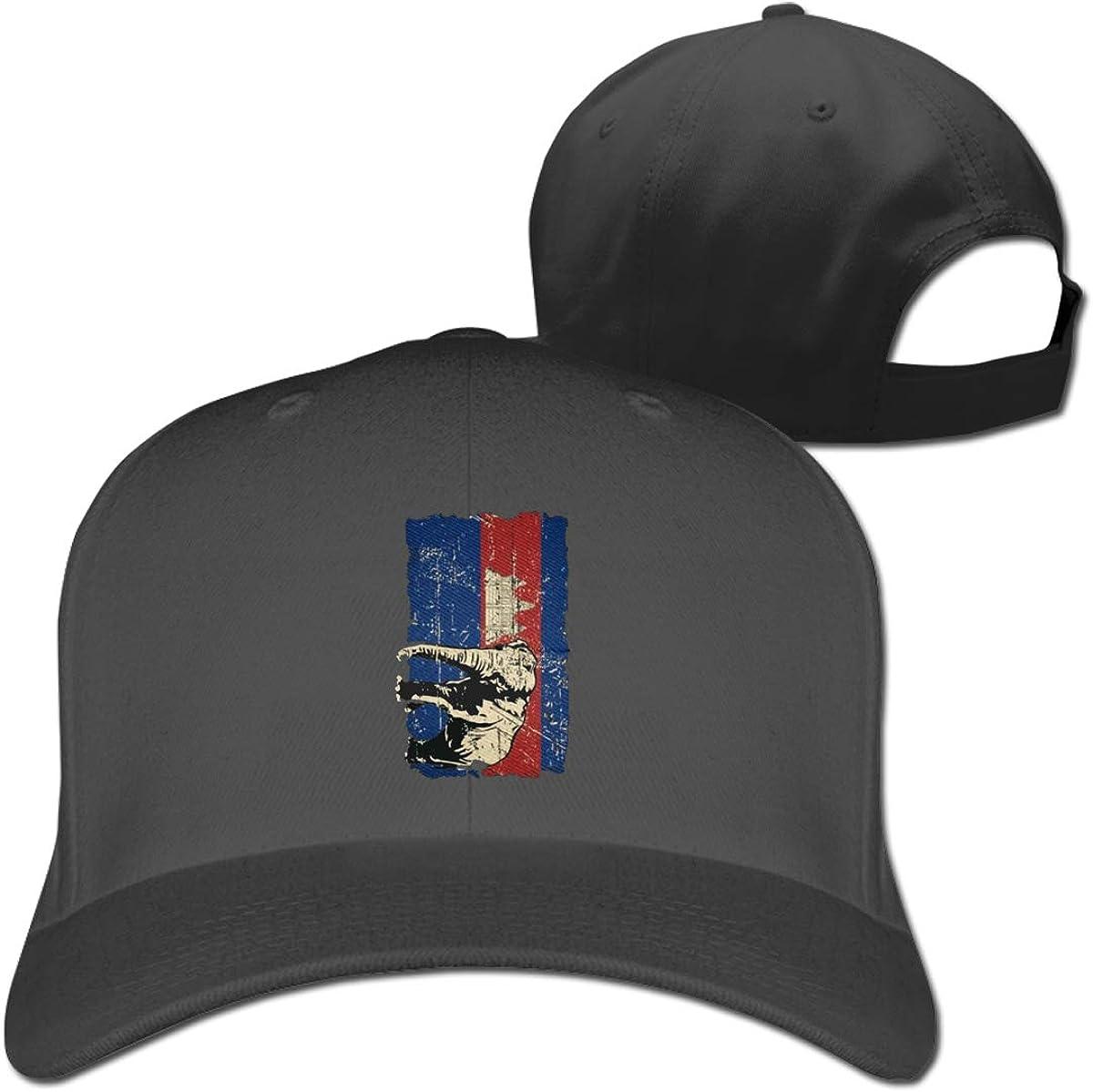 Cambodia Flag Elephant Fashion Adjustable Cotton Baseball Caps Trucker Driver Hat Outdoor Cap Black