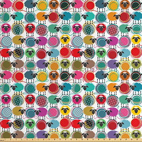 Lunarable Animal Fabric by The Yard, Colorful Sheep with Yarn Ball Design Barnyard Fauna Design with Polka Dots Abstract, Decorative Fabric for Upholstery and Home Accents, 3 Yards, Soft Teal