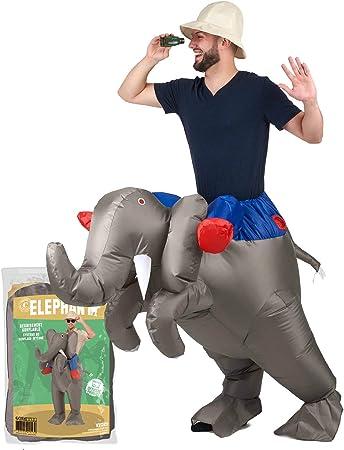 Original Cup - Disfraz Hinchable con Bomba de Aire USB, Traje Inflable Adultos para Fiesta, Conciertos, Halloween - Elefante