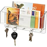 mDesign Mail, Letter Holder, Key Rack Organizer for Entryway, Kitchen - Wall Mount, Divided, Clear