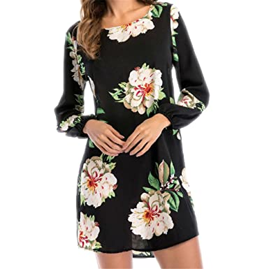 DRESS Summer New Floral Print Chiffon Boho Beach Casual Long Sleeve Sexy Backless Party Dresses Vestidos