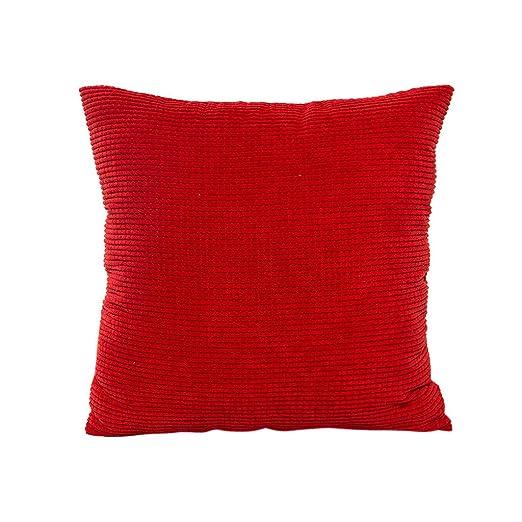 Funda de almohada decorativa de pana de color sólido de 65 x ...