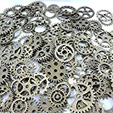 JGFinds 100 Pc Mixed Antiqued Bronze Tone Gears Wheels - Watch Findings, DIY Crafts, Jewelry Making, Steampunk Charms, 1cm-4cm