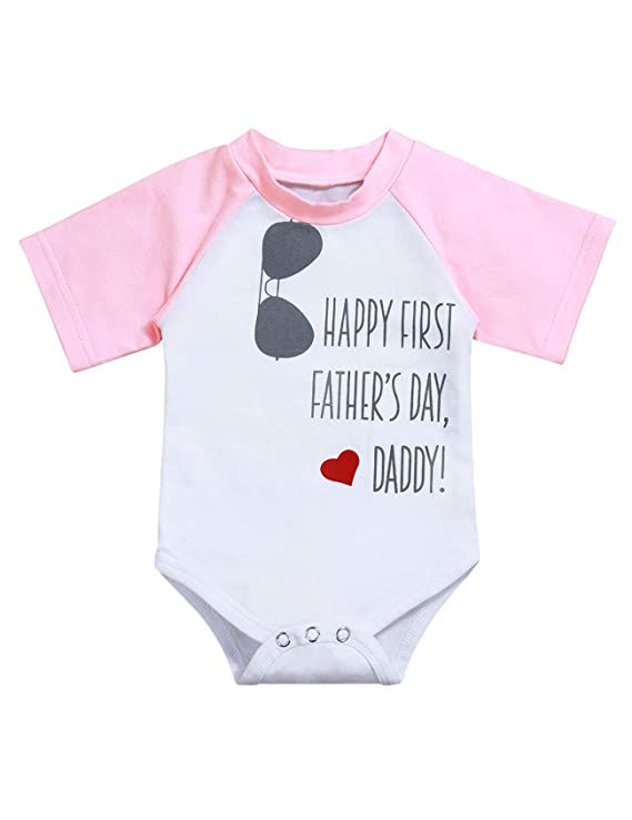 Ruptop Happy First Father's Day Daddy Infant Baby Boy Girl Letter Print Onesie Short Sleeve Bodysuit