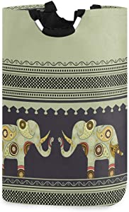 ALAZA Indian Elephant Bohemian Boho Hippie Large Laundry Hamper Bag Collapsible with Handles Waterproof Durable Clothes Round Washing Bin Dirty Baskets Organization for Home Bathroom Dorm College