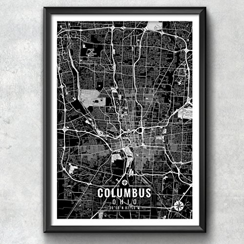 Columbus Ohio Map with Coordinates, Columbus Map, Map Art, Map Print, Columbus Print, Columbus Art, Columbus Wall Art, Map, Ohio, Ohio Print