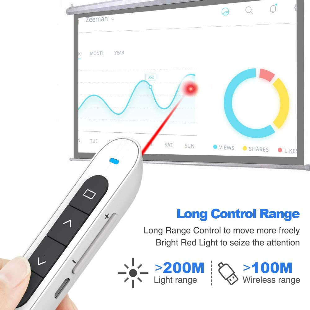 White 【Rechargeable 】KNORVAY N76 Wireless Presenter Rechargeable 100M//330FT Hyperlink Volume Presentation Clicker for Powerpoint Remote Slide Advancer 2.4GHz