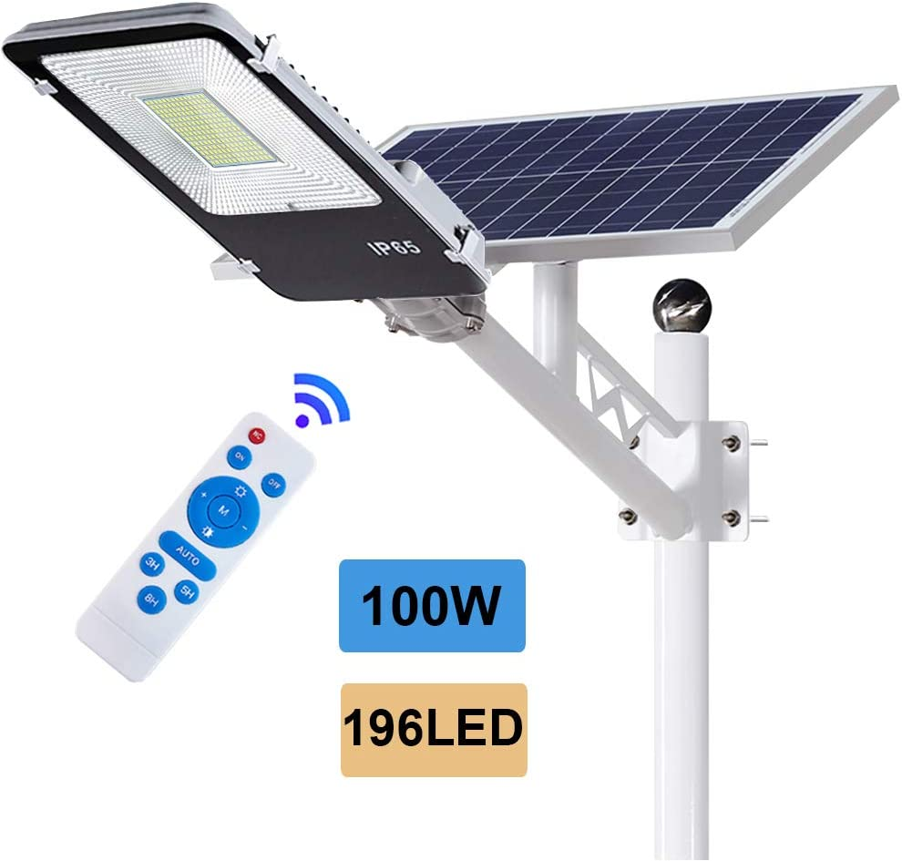 ECO-WORTHY 100 W Solar Street Flood Lights Outdoor Lamp, 196 LED White 6500K with Remote Control Dusk to Dawn Security Lighting for Yard, Garden, Gutter