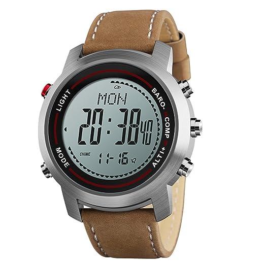 Los hombres de los relojes digitales con brújula podómetro altímetro barómetro piel banda plata: SKMEI: Amazon.es: Relojes