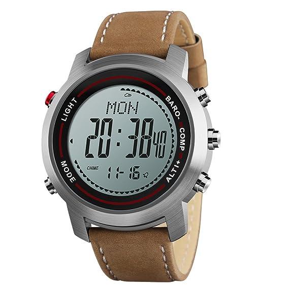 Los hombres de los relojes digitales con brújula podómetro altímetro barómetro piel banda plata