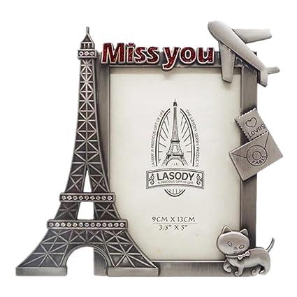 Amazon.com - QTMY Metal Miss You Eiffel Tower Cat Picture Frames ...