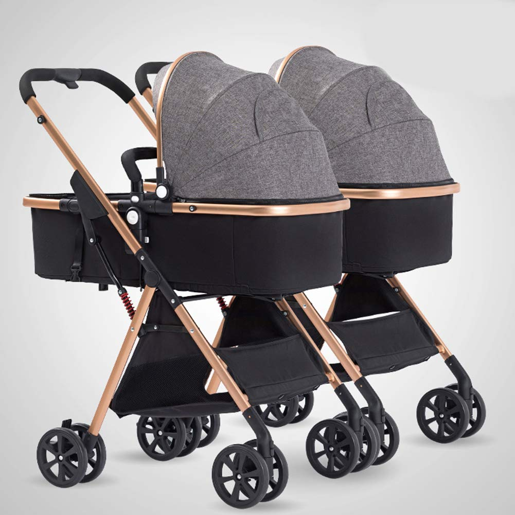 Foldable Toddler Stroller Twin Light-Weight Baby Buggy Aluminum 3-in-1 Convertible Bassinet Reclining Stroller Carriage