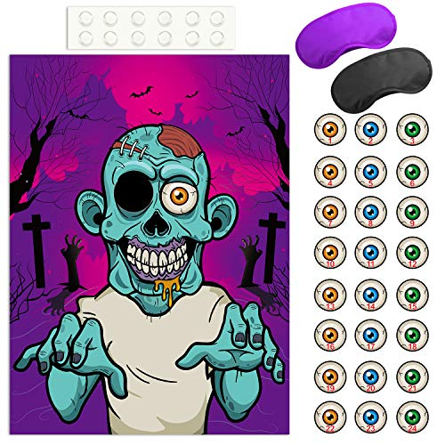 Zombie Party Games Halloween (FEPITO Pin The Eye on The Zombie Halloween Game with 24 Pcs Zombie Eye Stickers for Halloween Party Favors, Halloween)