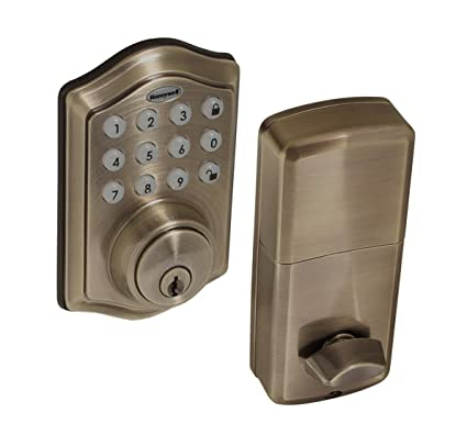 Honeywell Safes & Door Locks - 8712109 Electronic Entry Deadbolt with  Keypad, Antique Brass - Honeywell Safes & Door Locks - 8712109 Electronic Entry Deadbolt