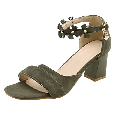 16ec0bee952 Show Shine Women s Fashion Ankle Buckles Chunky Heel Sandals (10