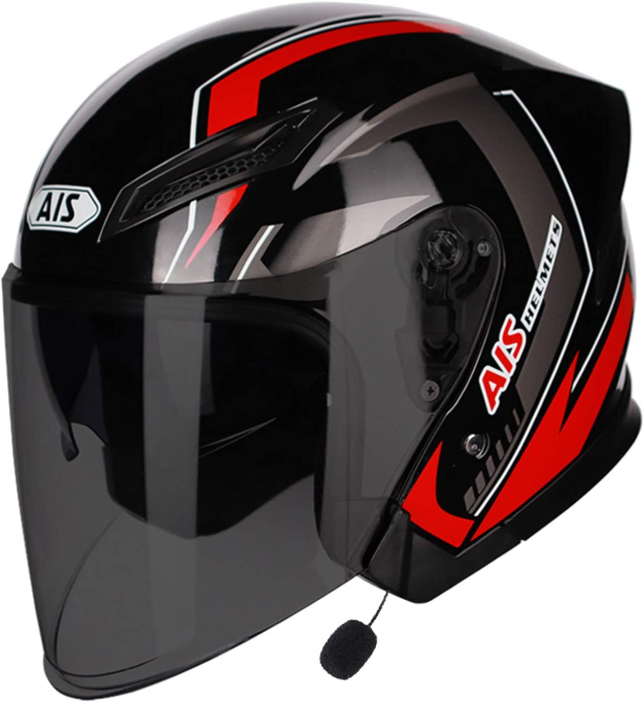 LICHUXIN Bluetooth de la Motocicleta Casco, Cubierta-Medio Casco de Bluetooth con micrófono, fácil de Limpiar, Ligero y Transpirable Casco de equitación, Unisex