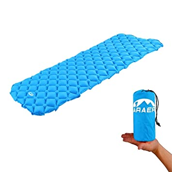 Colchón hinchable ARAER, ultraligero, para dormir y acampar, se puede combinar con bolsa de transporte, azul: Amazon.es: Deportes y aire libre