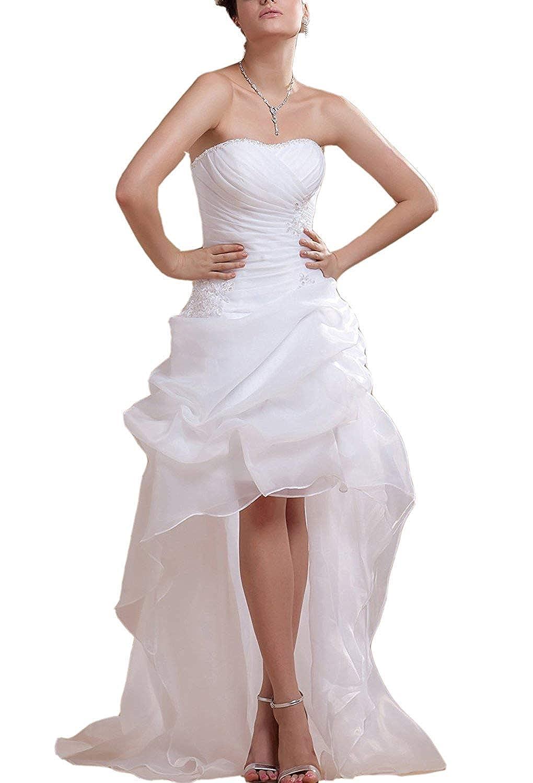 Angel Formal Dress Traegerloses High-Low Satin Brautkleider Hochzeitskleider