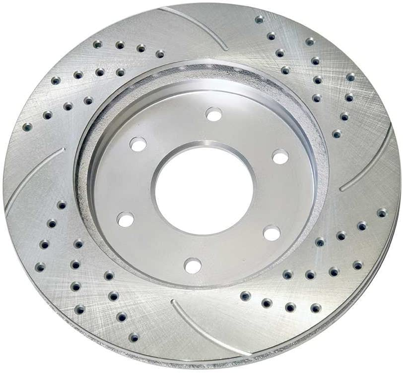 Prime Choice Auto Parts PR41330DSZPR Front Set 2 Performance Silver Drilled Slotted Rotors 6 Stud