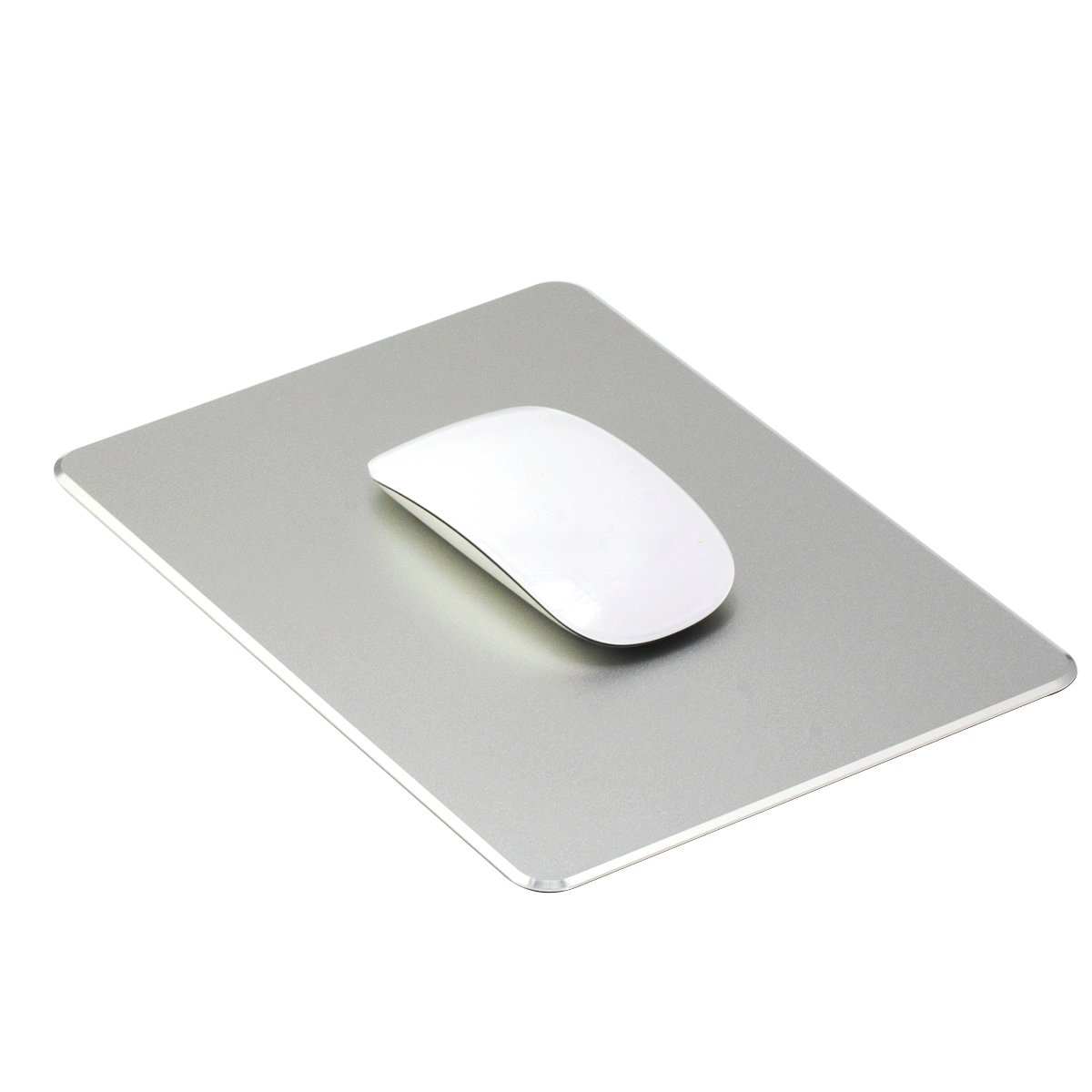Ptalor, Aluminum Mouse pad Strong Sensitivity for Mouse,Non-Slip Base,Resistant to Dirt,Easy to Clear,Mouse pad with Micro Sand Blasting Aluminum Surface for Fast and Accurate Control (Silver)