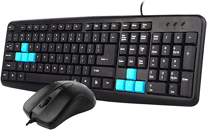 Right-Handed Mouse Interface for Desktop Compurter HourenJP Flat-Spring USB Keyboard and Mouse Set,Wired Full-Size Office Removable Keycaps Spill-Resistant