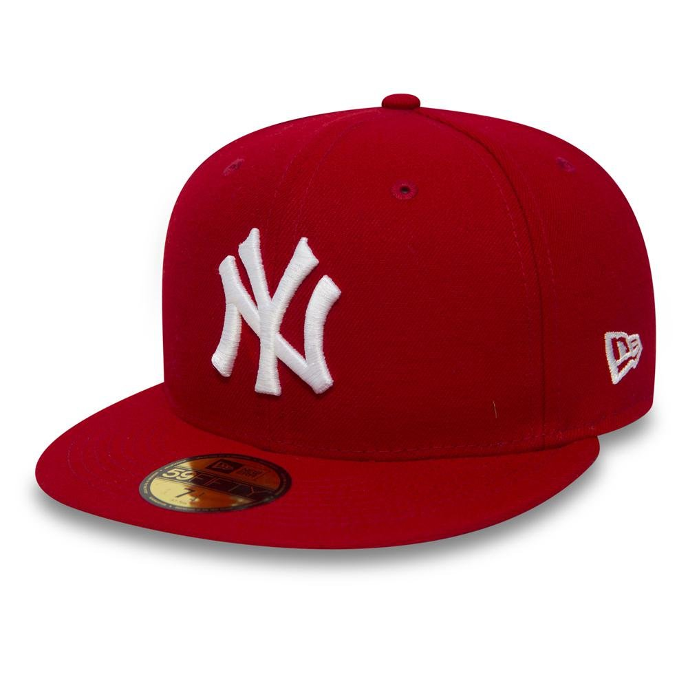 newest 44f77 8fb4d New Era 59FIFTY MLB Basic New York Yankees Cap - Scarlet   White   Amazon.ca  Clothing   Accessories
