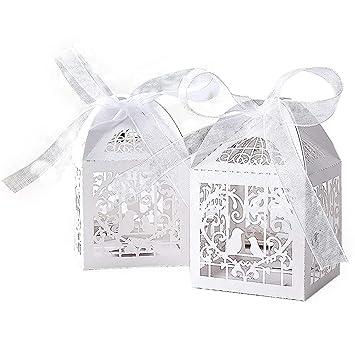 Amazon Kazipa 50pcs Laser Cut Wedding Favor Boxes 22x22