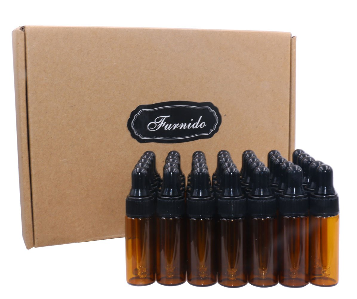 Furnido 5ml Amber Glass Dropper Bottle,Empty Essential Oil Bottles Glass Vials with Glass Eye Dropper for DIY Aromatherapy Colognes Perfume Liquid Sample Blends Pack of 35-2pc 2ml dropper included