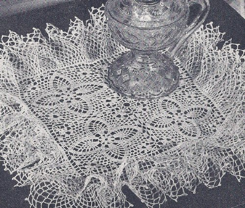 Vintage Crochet Pattern to make - Pineapple Doily Ruffled Square. NOT a finished item. This is a pattern and/or instructions to make the item only.