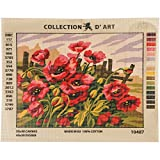 RTO Poppies D'Art Needlepoint Printed Tapestry Canvas, 40 x 50cm