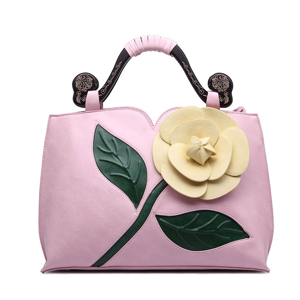 SUNROLAN 6111fenhong Women's Top Handle Satchel Handbags Formal Party Wallets Wedding Purses Wristlets Ethnic Totes Evening Clutches