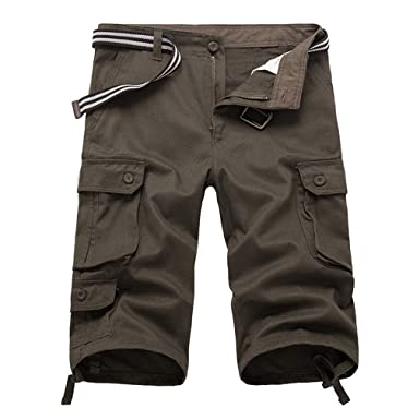 df59fe588b86 Yying Männer Casual Twill 3 4 Cargo-Shorts Locker Geschnittene Multi-Pocket-Capri  Lange Shorts Hosen  Amazon.de  Bekleidung