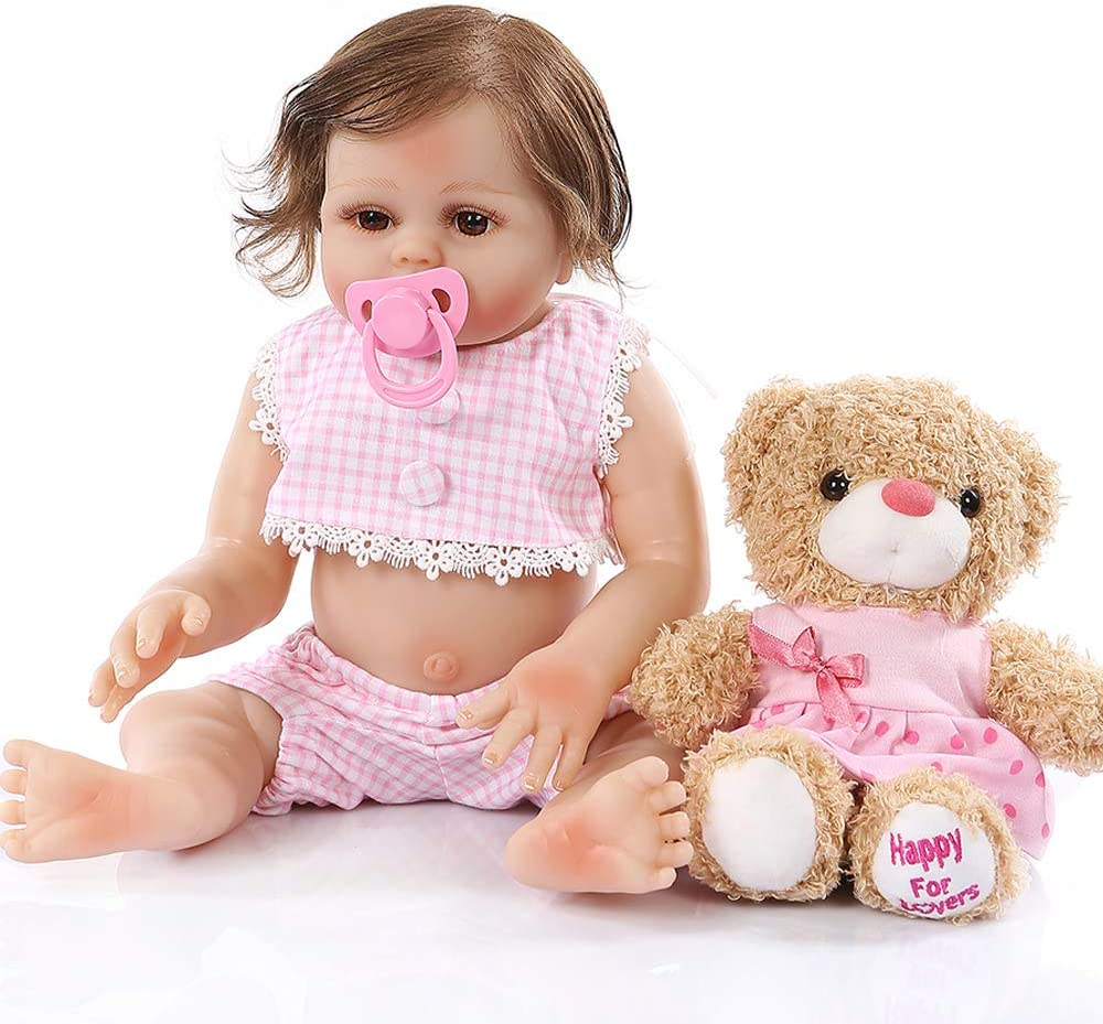 18inch45cm Premie Realistic Reborn Full Body Soft Silicone Cuddly Baby Anatomically Correct Bath Toy in Pink Dress Crafted