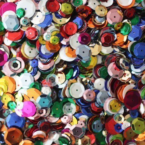 BULK CRAFT CUP SEQUINS MIXED COLORS and SIZES ~ Great Big Pack ~ Over 5,000 sequins