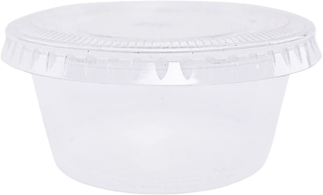 EDI Clear Disposable Plastic Portion Cups/Souffle Cups with Lids, 1 Ounce (100 Count)