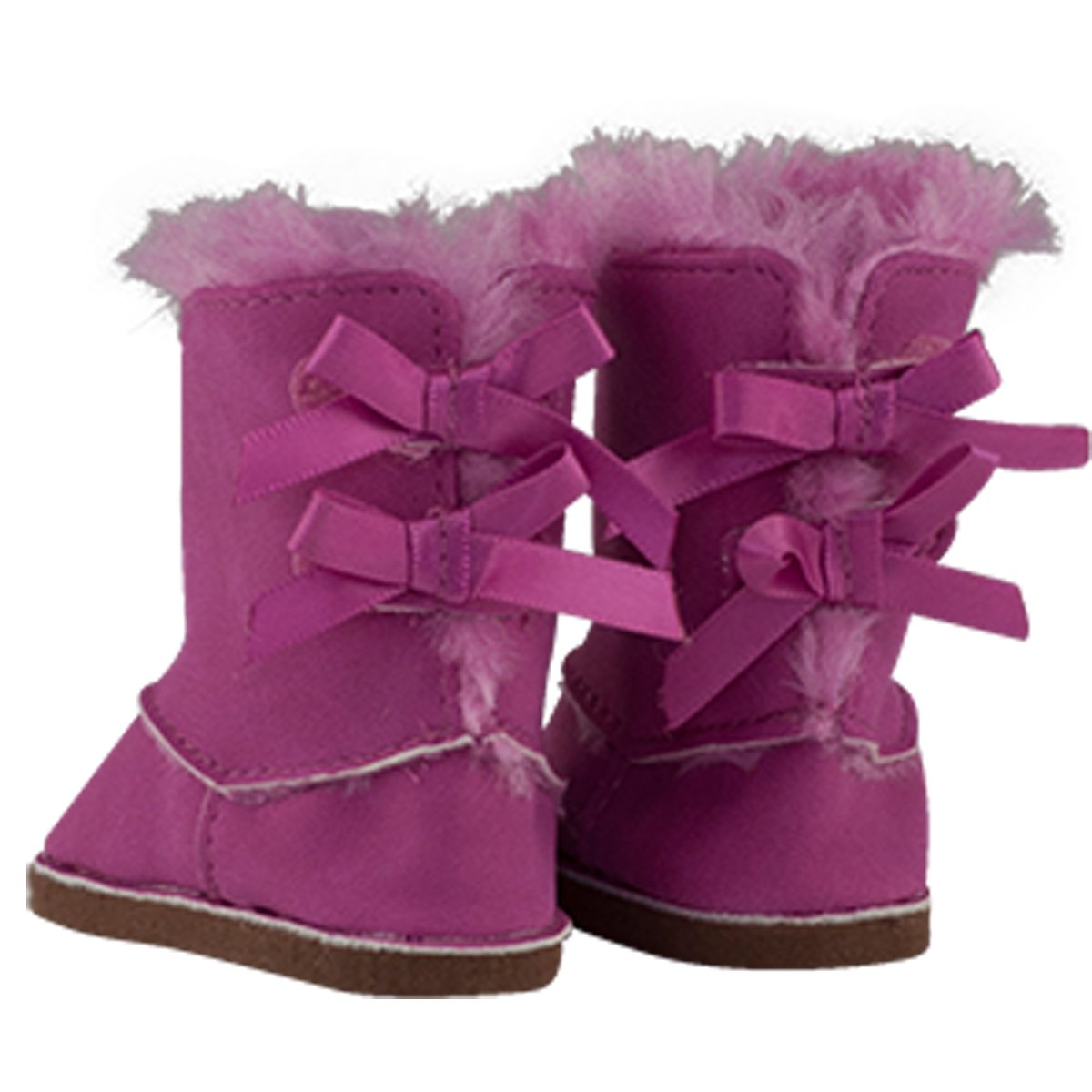 Pink//white Fuzzy Slippers -compatible with 18 American Girl Dolls /& More 18 DOLL WINTER BOOTS /& FUZZY SLIPPERS MangoPeaches Doll DELUXE set of 2 shoes-suede fuzzy Boots with 2 pink bows on the back