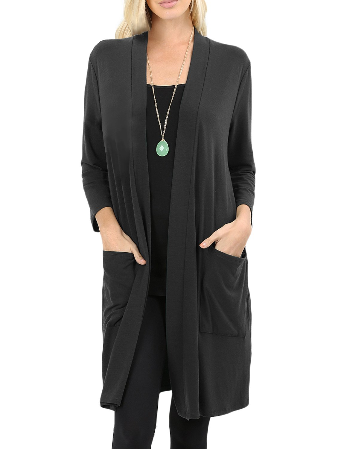 NE PEOPLE Womens Basic 3/4 Sleeve Open Front Cardigan with Pockets S-3XL