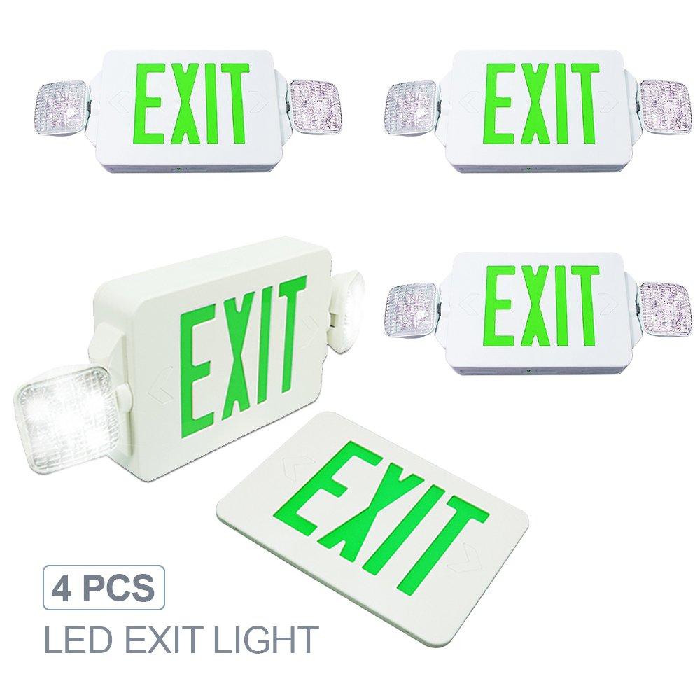eTopLighting [4 Pack] LED Exit Sign Emergency Light, Angle Adjustable Side Light, Rotatable Head Light, White Body, Green Letter, Top / Side / Installation, AGG2262