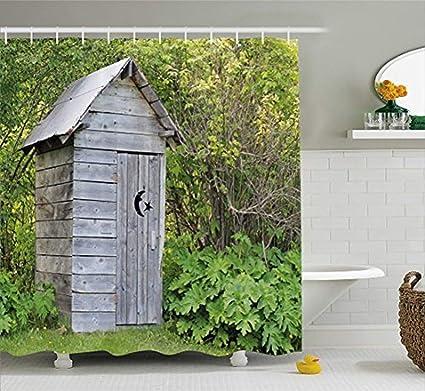 Forest Shower Curtain Liner Log Cabin Personalized Vintage Farm Life Cottage Barn