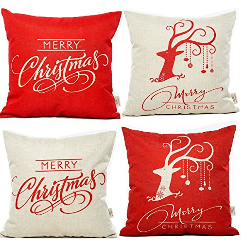 Cheap Christmas Throw Pillows HOSL SD12 Merry Christmas Series Throw Pillow Case Decorative Cushion Cover Pillowcase Square 18