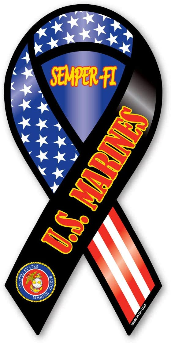 "4/""-10/"" WHITE USMC US MARINES SEMPER FI SEAL Car Ribbon Magnet"