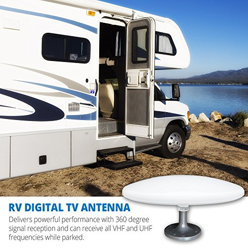 Winegard RS-3000 RoadStar Amplified Digital HD RV TV Antenna (4K Ultra-HD Ready, ATSC 3.0 Ready, VHF and UHF, Omni-Directional, Long Range Outdoor Motorhome TV Antenna) - White